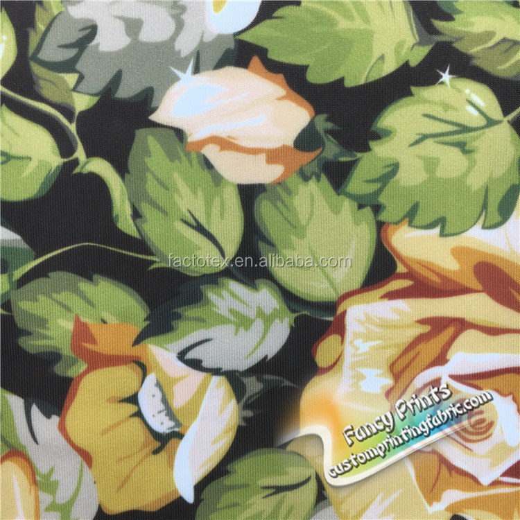 Professional manufacture cheap yellow floral knit fabric for swim suit