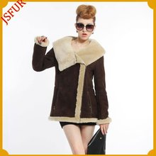 2014 New style double face sheepskin fur jacket for women