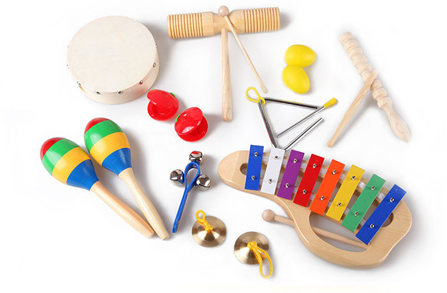 Environmental protection safe colorful 10pcs wooden music percussion set