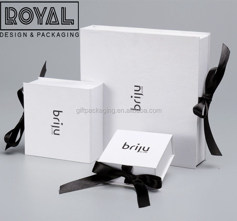 Simple Paper Jewelry Box With Black Ribbon & Custom Logo for Earring Necklace Watch Perfume
