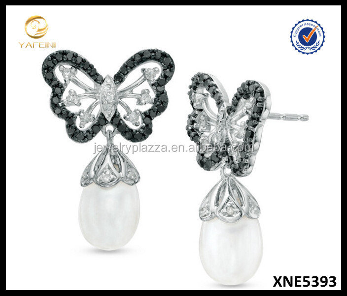 Black and White Diamond Jewelry, Silver Butterfly Earrings, Beautiful Silver Jewelry