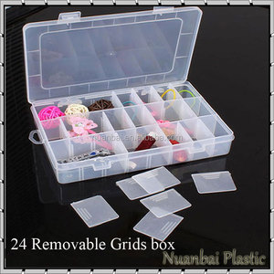 24 Grids Transparent Cosmetic Plastic Removable grids DIY Organizer Bin Makeup Storage Box
