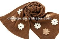 knitted small flowers embroideried scarfs