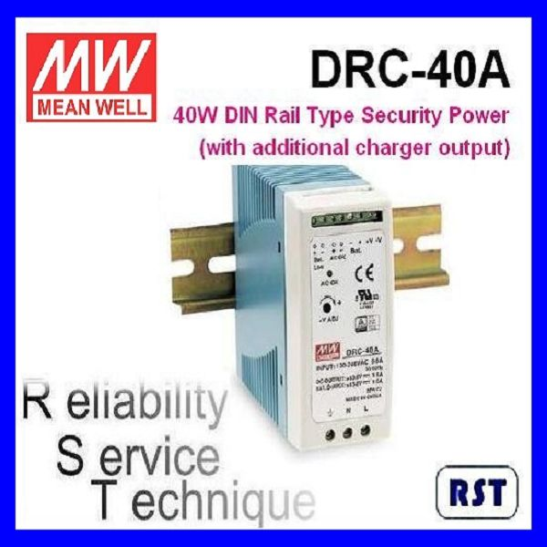 Meanwell DRC-40A 40W 13.8V 1.9A Single Output with Battery Charger (UPS Function) DIN Rail Power Supply