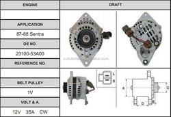 Nissan Sentra Cheap price auto car 23100-53a00 alternator