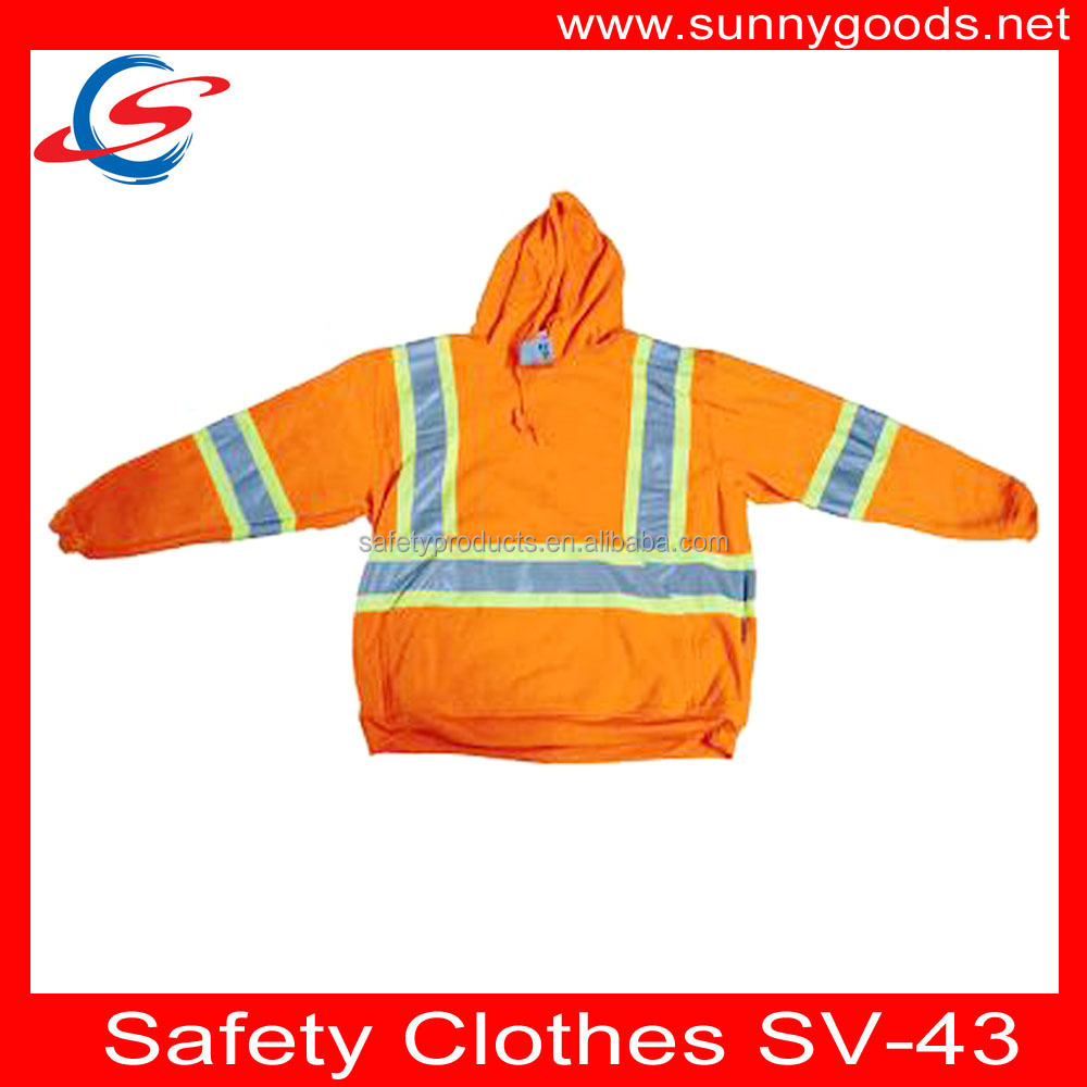 orange long sleeve en471 approved high visibility safety vest SV-43
