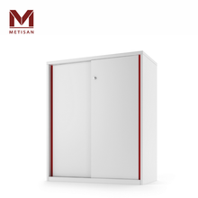 3 Layer Sliding Door Cupboard with Red Lines Office Filing Cabinet