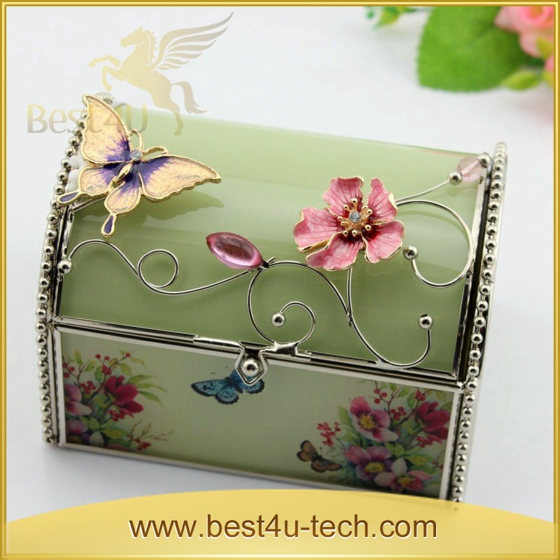 New Style Wedding Gifts Butterfly Crystal Small Glass Jewelry Box / Trinket Box