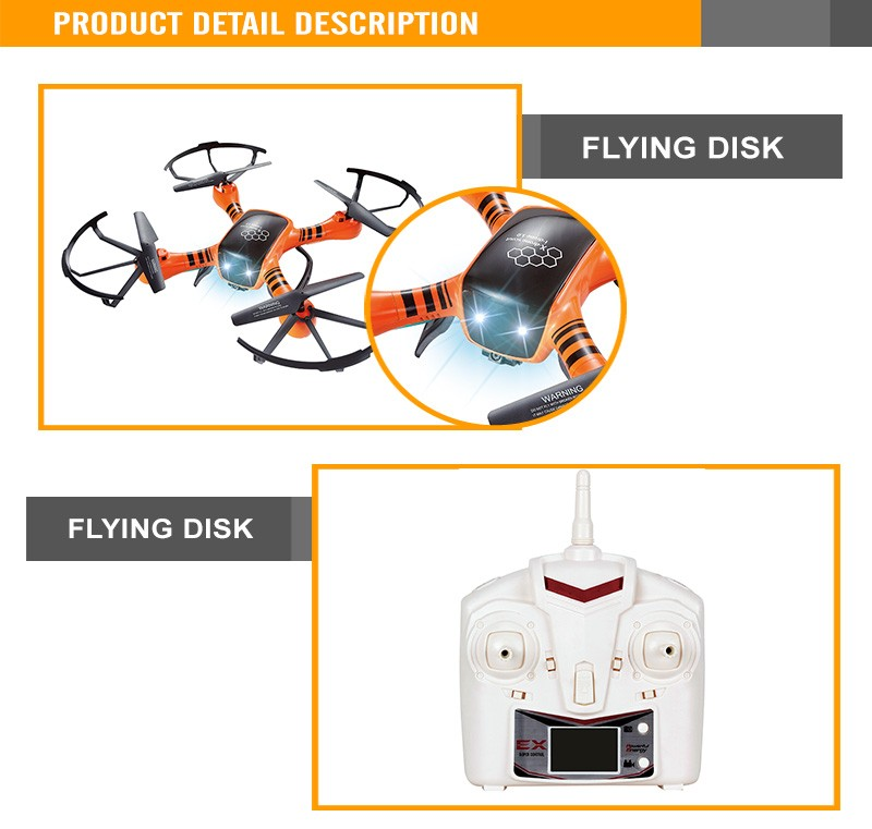 2.4G 4 Channel Remote Control Four Axis For Adults R/C Plane Flying Disk Remote Control Plane With Lights