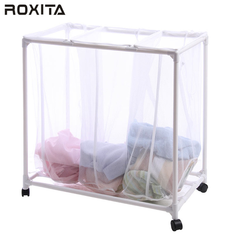 RX-127 Three tier plastic laundry basket clothing hamper with wheels