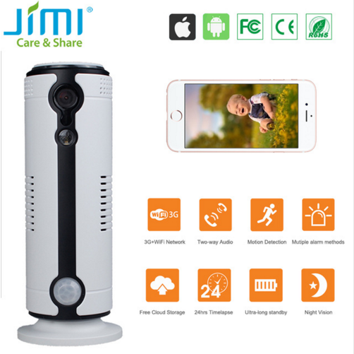 Wireless Surveillance Lithium Battery PIR Sensor Free Cloud Storage P2P 3G Sim Card Wifi IP Camera