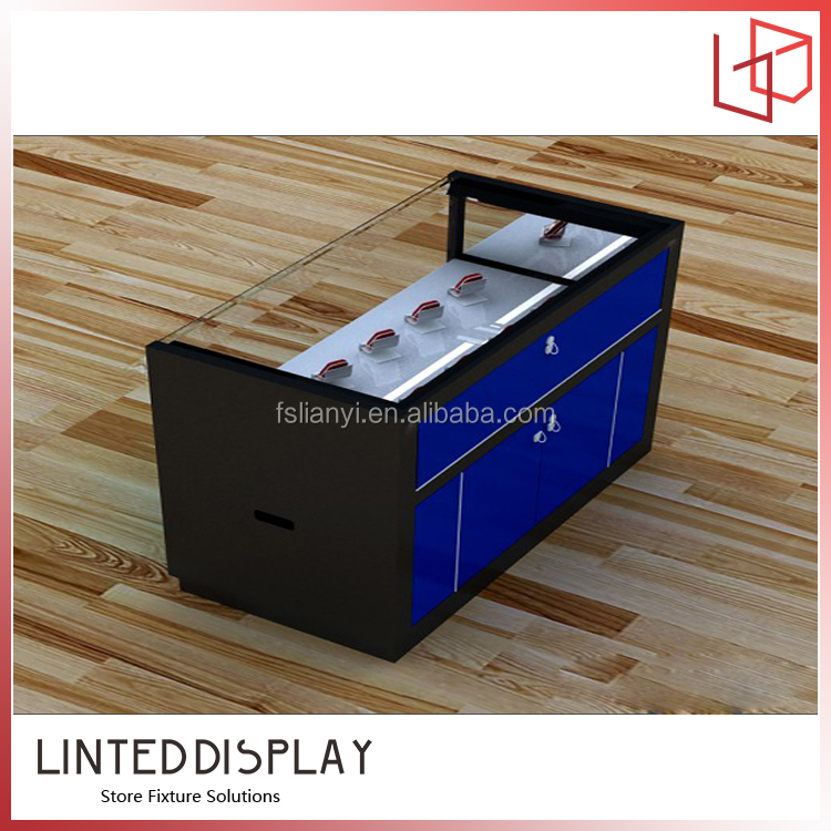 Wooden Coner Glass Display Case For Mobile Accessory