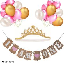 First Birthday Decoration Set with Gold Crown for Baby Boy Girl PInk Gold White I AM ONE 1st Birthday Banner