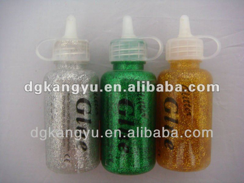 bright glitter glue pens including glitter powder and brush