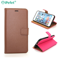 Manufacture wholesale wallet book card slots hold stand PU leather flip cover case for iPhone 6S