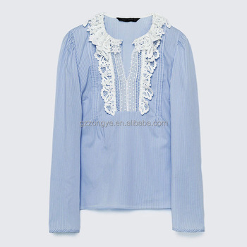Stripe poplin front lace design korean ladies tops