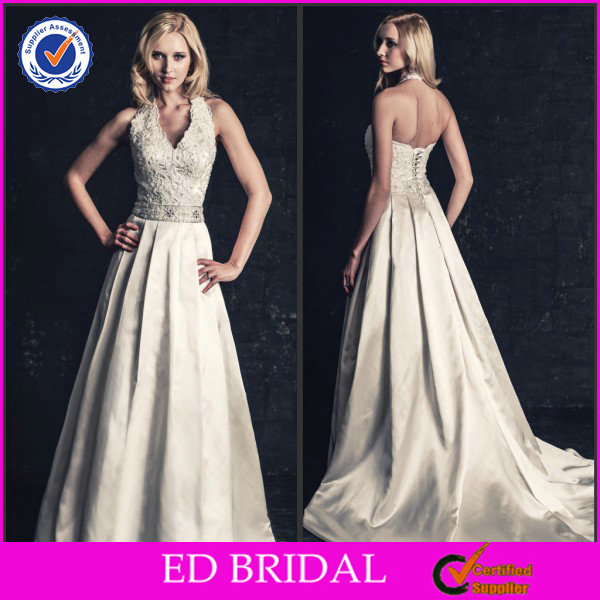 2014 A-Line Ivory Satin Halter Thailand Lace Appliqued Satin Long Train Wedding Dresses
