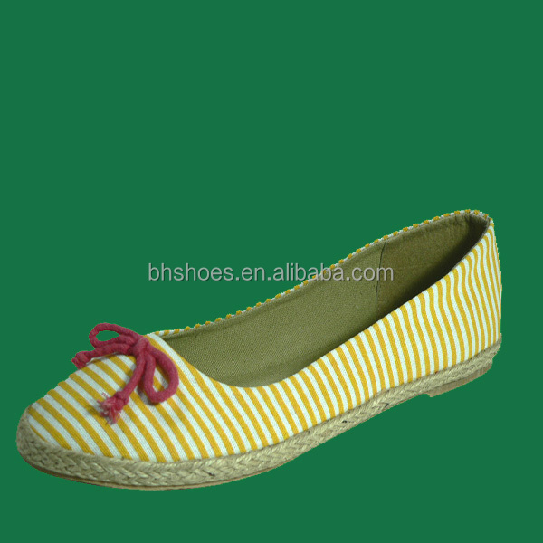 BHS095470 jute around canvas latest design lady flat shoes