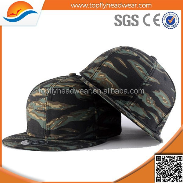 china wholesale custom plain camo fabric caps and hats snapback blank