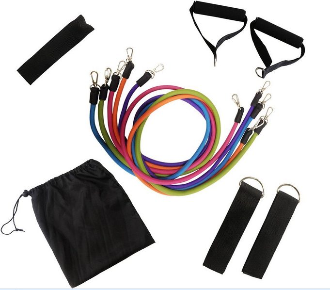 2015 new design Natural Latex Elastic Rope Resistance Bands Exercise Tubes Set