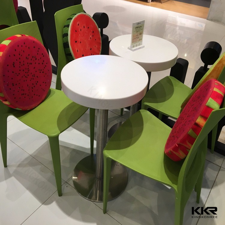 acrylic solid surface stone top food court dining table chairs