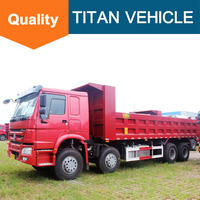 Sino Truck 12 wheels Howo 380HP 8X4 60 ton hyva tipper dump truck for sale