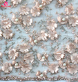 2017 Top end beaded lace fabric embroidery for wedding dress bridal gown