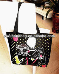 black color dot pattern metallic shopping bag