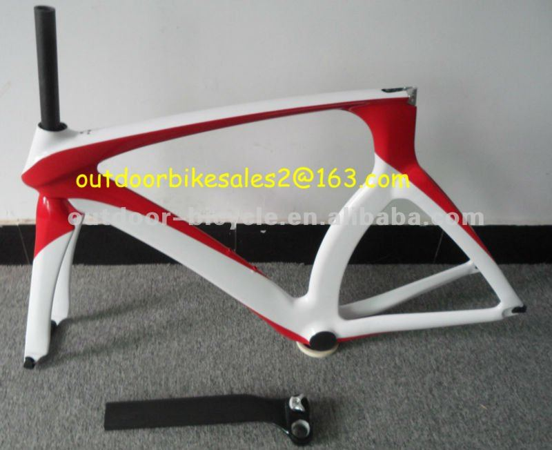 carbon fiber tt time trial bike bicycle frame painting red/white colors