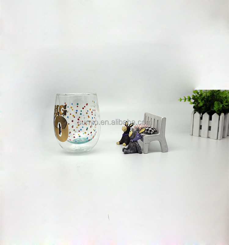 Factory Price clear high borosilicate double wall glasses for your 18th, 50,60 birthday