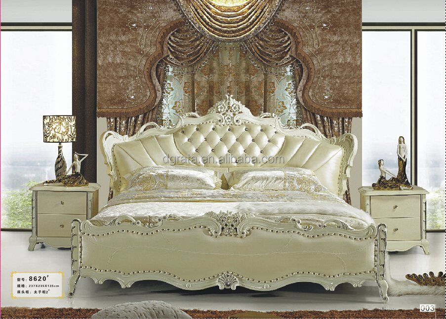 2017 luxury white leather bed in solid wood frame and genuine leather to be finished for the bedroom house furnitures