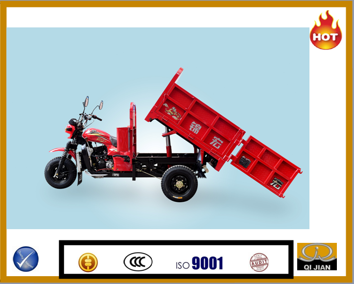 2015 Motocarro cheap gaosoline cargo tricycle hydraulic tipping bucket tricycle