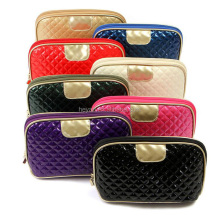 Bling waffle cosmetic bag with zipper and logo