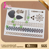Various design waterproof flash fake golden metallic temporary tattoo