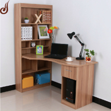 Customized size FR-MDF PD material wooden modern bookcase with study table set design