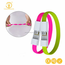 Promotion gift bracelet usb phone charger flat usb cell phone cord cable best gift with OEM logo