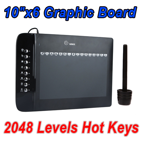 "10""x6"" USB Drawing Graphic Tablet Board For PC Laptop Computer with Cordless Digital Pen 2048 Levels Hot Keys Free Shipping"