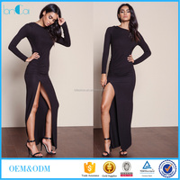 Woman long sleeve open back bodycon maxi dress with high slit