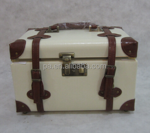 Leather Aluminum classical makeup cosmetic case with mirror