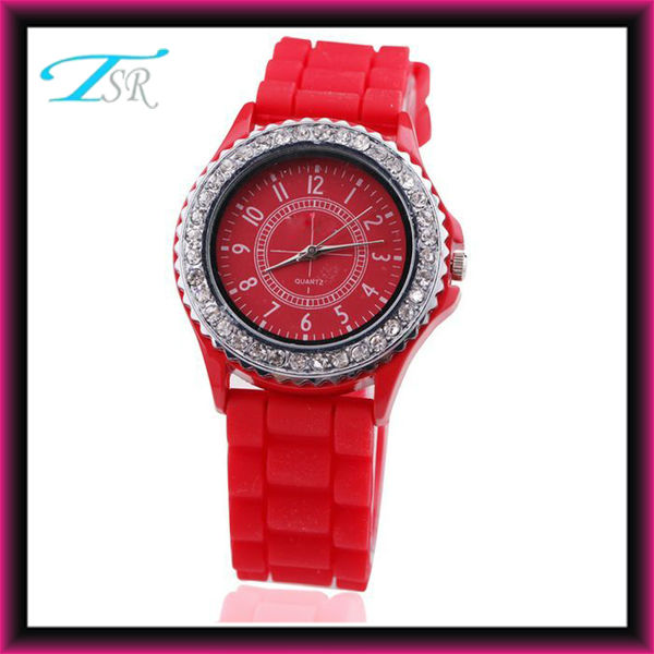 2016 silicone watches, custom silicone wrist watch, diamond silicone geneva watch unisex