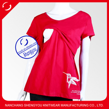 Custom Short sleeve spandex cotton maternity breastfeeding nursing clothing