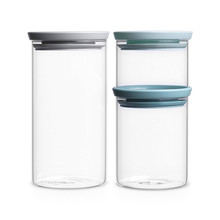 Glass Stackable Jars Glass Storage Jar with Lid and Silicone Ring Seal Food Storage Canister for Dry Foods