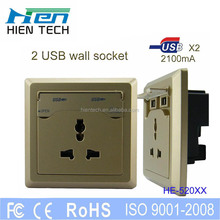 Electrical plugs and socket 240V USB wall socket with 2 USB port 5V2.1A 3 pin AC for general use USB ports for digital products