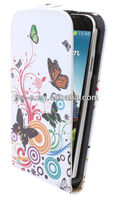 Have stock for Samsung Galaxy S4 mini i9190 flower pattern design printing leather material flip case with stand