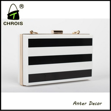 White and black color fashion latest ladies bridal purse