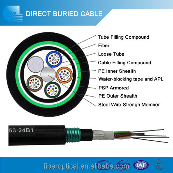 Gel Filled Multi Loose Tube 4 Core Outdoor G652d Armoured Fiber Optic Cable