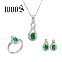 925 Sterling Silver colored rhinestone jewelry set for women