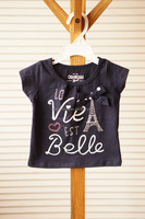 Wholesale factory price summer 100%cotton black printed t-shirt for baby girl