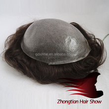Indian Remy Hair 8*10 Hair System Super Skin PU Men's toupee in stock