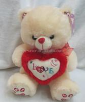 35 cm cute teddy bear hugging red heart , Online Doll bear wholesale